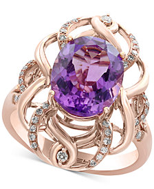 EFFY® Viola Amethyst (3-7/8 ct. t.w.) and Diamond (1/5 ct. t.w.) Ring in 14k Rose Gold