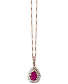 Amoré by EFFY® Certified Ruby (3/4 ct. t.w.) and Diamond (1/3 ct. t.w.) Teardrop Pendant Necklace in 14k Rose Gold, Created for Macy's