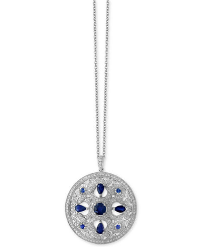 Royalé Bleu by EFFY® Sapphire (1-3/4 ct. t.w.) and Diamond (9/10 ct. t.w.) Pendant Necklace in 14k White Gold, Created for Macy's