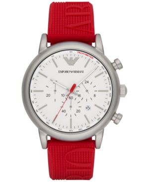 Emporio Armani Men's Chronograph Red Silicone Strap Watch 46mm AR11021 thumbnail