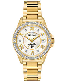 Bulova Women's Marine Star Diamond Accent Gold-Tone Stainless Steel Bracelet Watch 32mm 98R235
