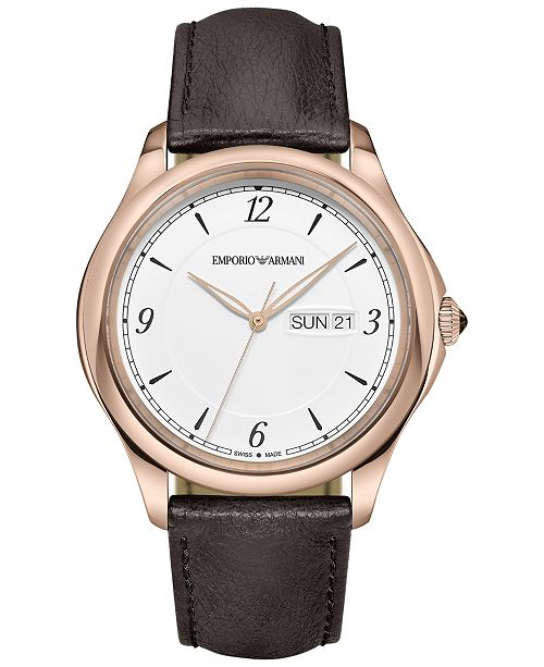 0c935a833 Emporio Armani Men's Swiss Esedra Brown Leather Strap Watch 43mm ARS8601.  Be the first to Write a Review. main image; main image ...