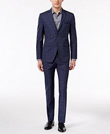 Perry Ellis Men's Extra Slim-Fit Portfolio Denim Blue Windowpane Comfort Stretch Suit