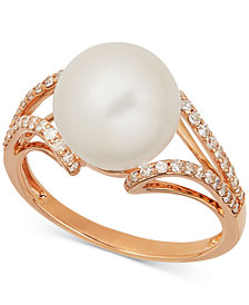 Honora Style Cultured Freshwater Pearl (10mm) and Diamond (1/4 ct. t.w.) Ring in 14k Rose Gold