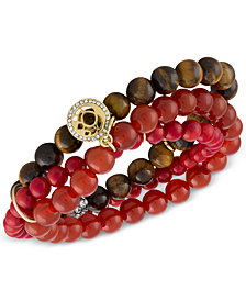 RACHEL Rachel Roy Gold-Tone Crimson Beaded Multi-Row Stretch Bracelet