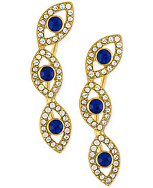 RACHEL Rachel Roy Gold-Tone Blue Stone and Crystal Evil-Eye Ear Crawlers