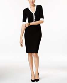 Anne Klein Button-Front Sweater Dress