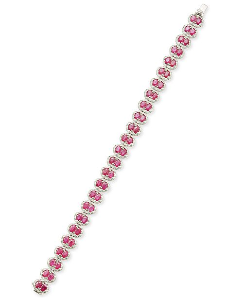 Macy's Certified Ruby Tennis Bracelet (12 ct. t.w.) in Sterling Silver, Created for Macy's
