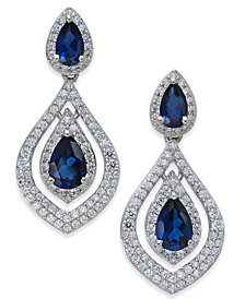 Sapphire (1-1/2 ct. t.w.) & Diamond (3/4 ct. t.w.) Drop Earrings in 14k Gold (Also available in Emerald & Certified Ruby)