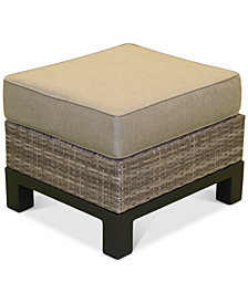 CLOSEOUT! North Port Wicker Outdoor Ottoman, with Sunbrella® Cushion, Created for Macy's