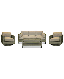 CLOSEOUT! North Port Wicker Outdoor 4-Pc. Seating Set (1 Sofa, 2 Swivel Club Chairs & 1 Coffee Table) with Sunbrella® Cushions, Created for Macy's