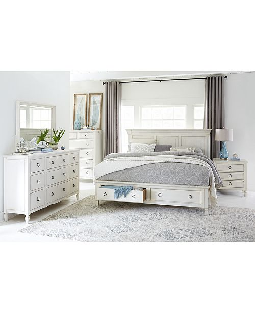 Sag Harbor White Bedroom Furniture Collection, 3 Piece Set (Storage Queen  Platform Bed, Dresser & Nightstand)