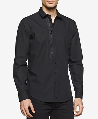 Calvin Klein Men's Half-Zip Half-Button Cotton Shirt - Casual ...