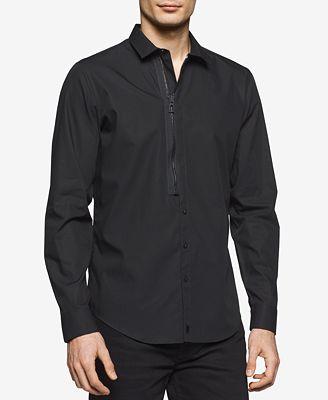 Calvin Klein Men's Half-Zip Half-Button Cotton Shirt - Casual ...