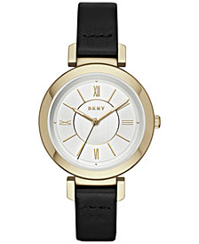 DKNY Women's Ellington Black Leather Strap Watch 34mm, Created for Macy's