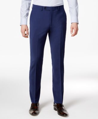 Men's Skinny Fit Stretch Wrinkle-Resistant Blue Suit Pants, Created for Macy's