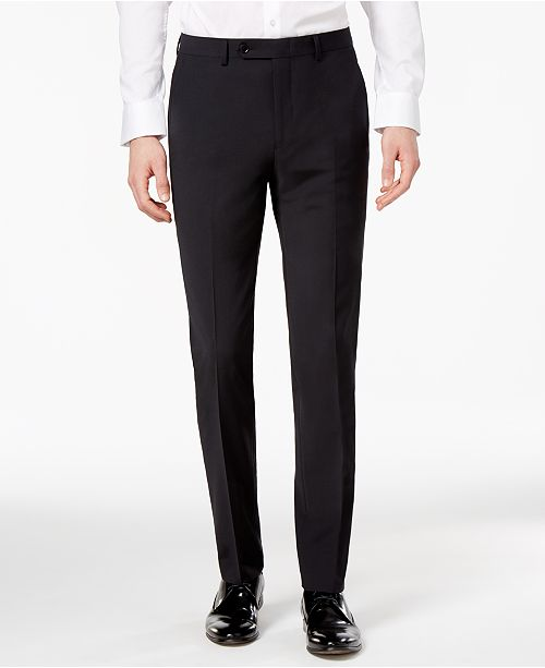 Bar Iii Mens Skinny Fit Stretch Wrinkle Resistant Black Suit Pants