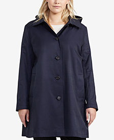 Lauren Ralph Lauren Plus Size Hooded Trench Coat