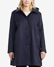 Lauren Ralph Lauren Plus Size Hooded Trench Coat, Created for Macy's
