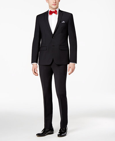 Bar III Men's Skinny Fit Stretch Wrinkle-Resistant Black Suit Separates, Created for Macy's