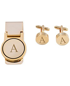 Men's Gold-Tone Monogrammed Cuff Links & Money Clip Set