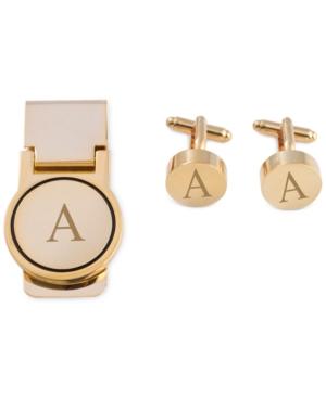 Bey-Berk Men's Gold-Tone Monogrammed Cuff Links &