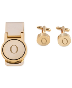 Men's Gold-Tone Monogrammed Cuff Links & Money Clip Set