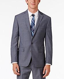 Ryan Seacrest Distinction™ Men's Slim-Fit Gray/Blue Double Stripe Suit Jacket, Created for Macy's