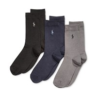 3-Pack Polo Ralph Lauren Supersoft Flat Solid Crew Socks For Little & Big Boys (Khaki Heather)