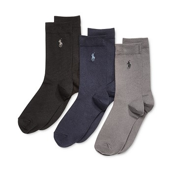 3-Pack Polo Ralph Lauren Supersoft Flat Solid Crew Socks