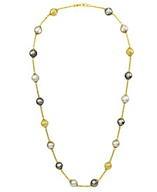 Pearl Necklace, 18k Gold over Sterling Silver Multicolor Organic Man Made Pearl Illusion