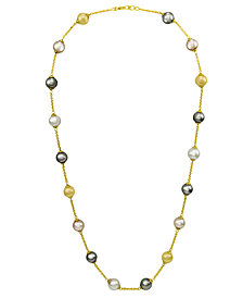 Majorica Pearl Necklace, 18k Gold over Sterling Silver Multicolor Organic Man Made Pearl Illusion