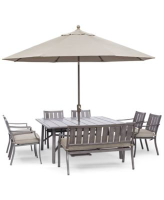 "Wayland Outdoor Aluminum 8-Pc. Dining Set (64"" Square Dining Table, 6 Dining Chairs & 1 Bench) with Sunbrella® Cushions, Created for Macy's"