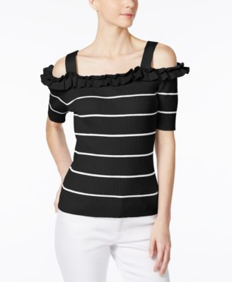 Image of Grace Elements Ruffled Cold-Shoulder Sweater
