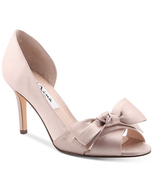 NINA Forbes 2 Bow Peep-Toe D'Orsay Evening Pumps Women's Shoes ZkcAiFDmgR