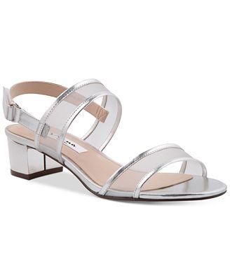 NINA Ganice Block-Heel Evening Sandals Women's Shoes