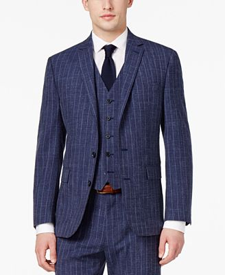 Ryan Seacrest Distinction™ Men's Slim-Fit Blue Chalk Stripe Suit Jacket, Only at Macy's