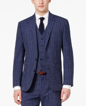 1920s Mens Clothing Ryan Seacrest Distinction Mens Slim-Fit Blue Chalk Stripe Suit Jacket Only at Macys $249.99 AT vintagedancer.com
