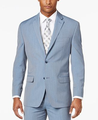 Sean John Men's Classic-Fit Light Blue Pinstripe Suit Jacket ...