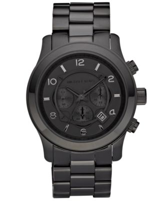 Michael Kors Men s Runway Black Ion Plated Stainless Steel Bracelet Watch  45mm MK8157 - Watches - Jewelry   Watches - Macy s 0f2b498ae599