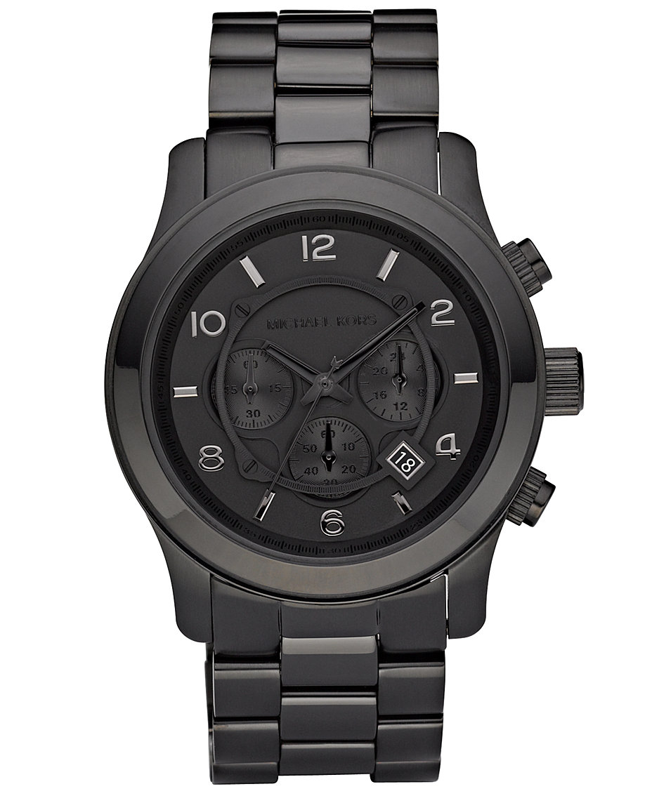 Michael Kors Men s Runway Black Ion Plated Stainless Steel Bracelet Watch  45mm MK8157 - Watches - Jewelry   Watches - Macy s d34ba41a35