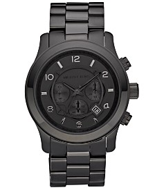 Michael Kors Men's Runway Black Ion Plated Stainless Steel Bracelet Watch 45mm MK8157