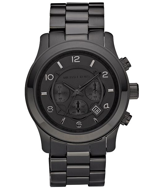 8dd2525e0053 ... Michael Kors Men s Runway Black Ion Plated Stainless Steel Bracelet  Watch 45mm MK8157 ...