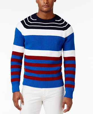 Tommy Hilfiger Men's Brent Striped Crew-Neck Cotton Sweater ...