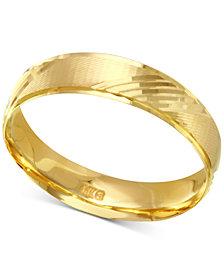 Diagonal Textured Wedding Band in 14k Gold