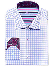 Michelsons of London Men's Slim-Fit Textured Blue Check Dress Shirt