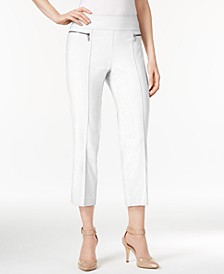 Petite Pull-On Faux Zip-Pocket Capri Pants, Created for Macy's