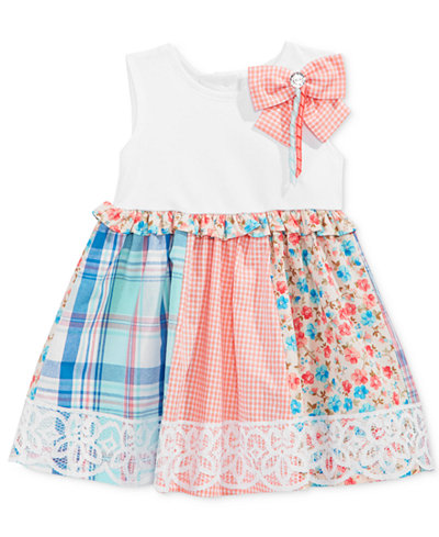 Bonnie Baby Mixed-Print Lace Dress, Baby Girls (0-24 months)