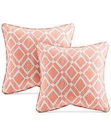 "Madison Park Delray Diamond-Print 20"" Square Pair of Decorative Pillows"