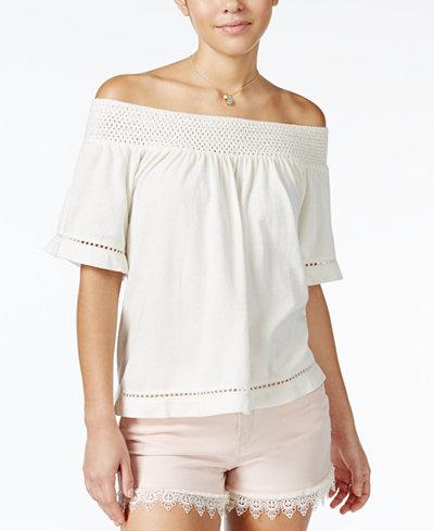 Roxy Juniors' Hey Tonight Crochet-Trim Off-The-Shoulder Top